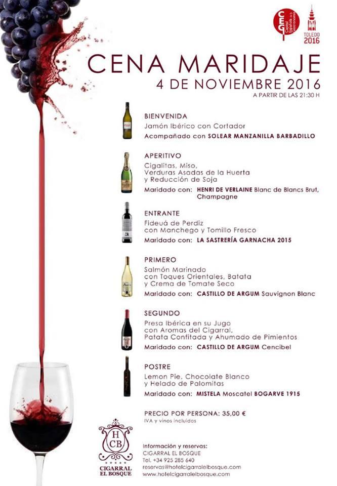 Cena maridaje Cigarral El Bosque 4 de noviembre de 2016