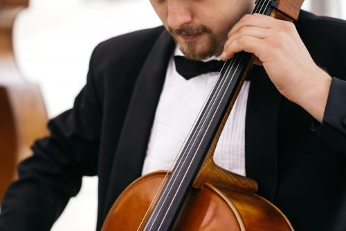Musician plays on the cello